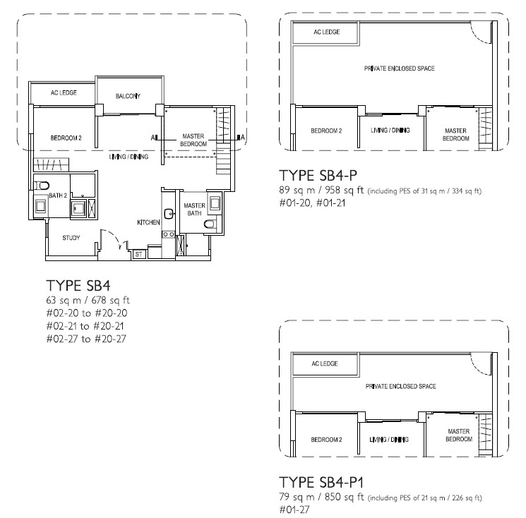Soho 2 bed study j gateway jurong east gateway new for Study bed plans